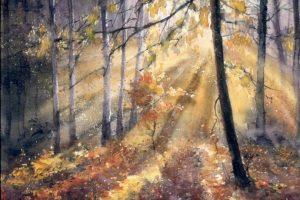 Мастер-класс по масляной живописи «Лучи солнца сквозь осенний лес»