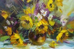 Мастер-класс по масляной живописи «Подсолнухи»
