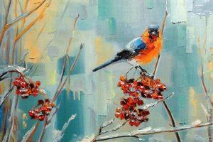 Мастер-класс по масляной живописи «Снегири»