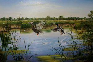 Мастер-класс по масляной живописи «Туман, озеро, утки»