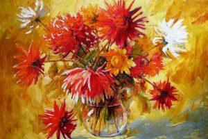 Мастер-класс по масляной живописи «Георгины»