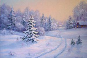 Мастер-класс по масляной живописи «Домик в зимнем лесу»