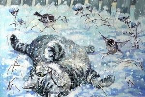 Мастер-класс по масляной живописи «Кошки тоже любят зиму»