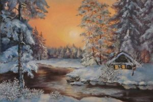Мастер-класс по масляной живописи «Уютный зимний пейзаж»