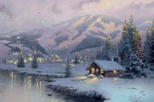 Мастер-класс по масляной живописи «Заснеженные домики»
