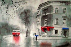 Мастер-класс по масляной живописи «Зимний трамвай»