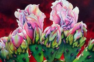 Мастер-класс по масляной живописи «Цветок кактуса»